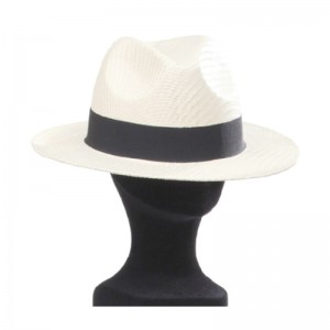 Chapeau Borsalino paille mixte beige galon noir