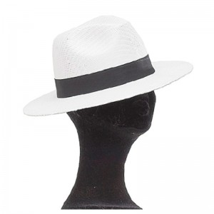 Chapeau Borsalino paille mixte blanc galon noir