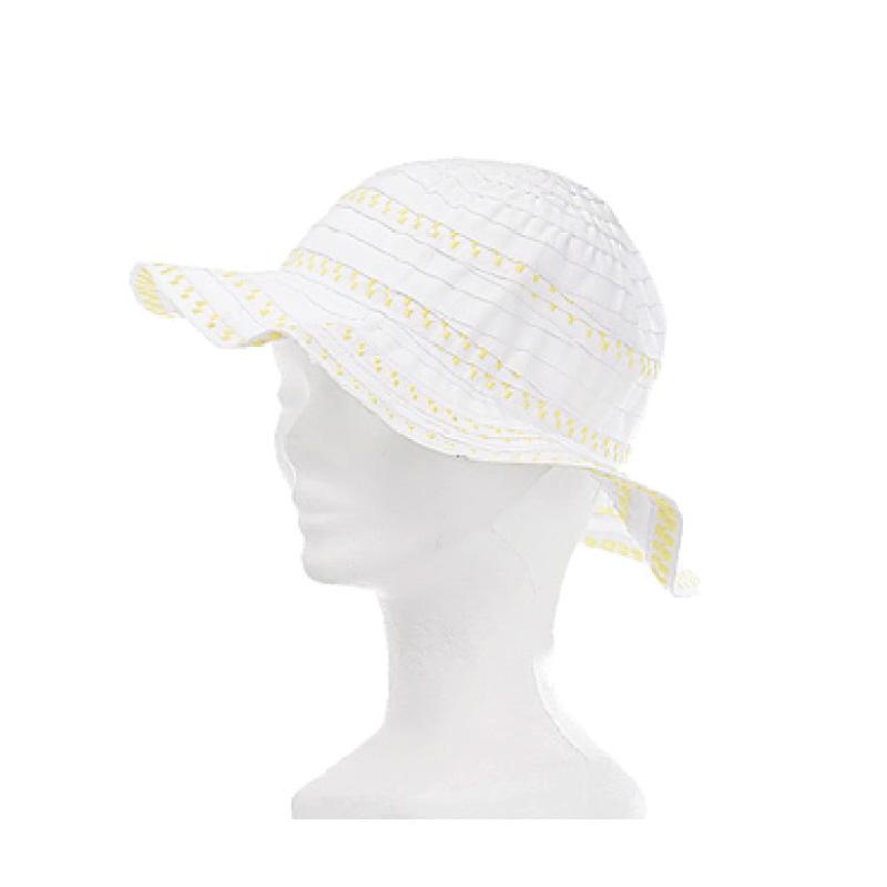 Chapeau fille polyester blanc et jaune - Kausia 4c98fb25b0b