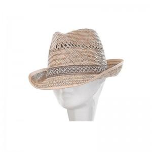 Chapeau trilby mixte paille naturel ajouré avec galon
