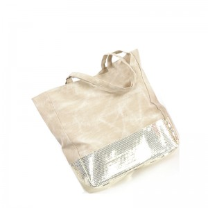 Sac coton polyester plus sequins beige
