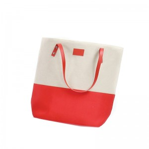 Sac coton polyester rouge et beige