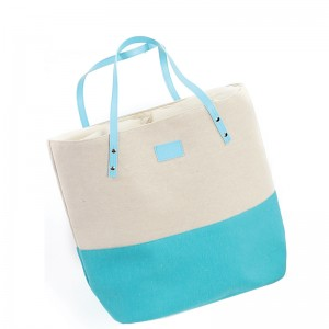 Sac coton polyester turquoise et beige