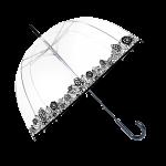 Parapluie cloche femme transparent avec liseret de fleurs noires manche canne plastique noir