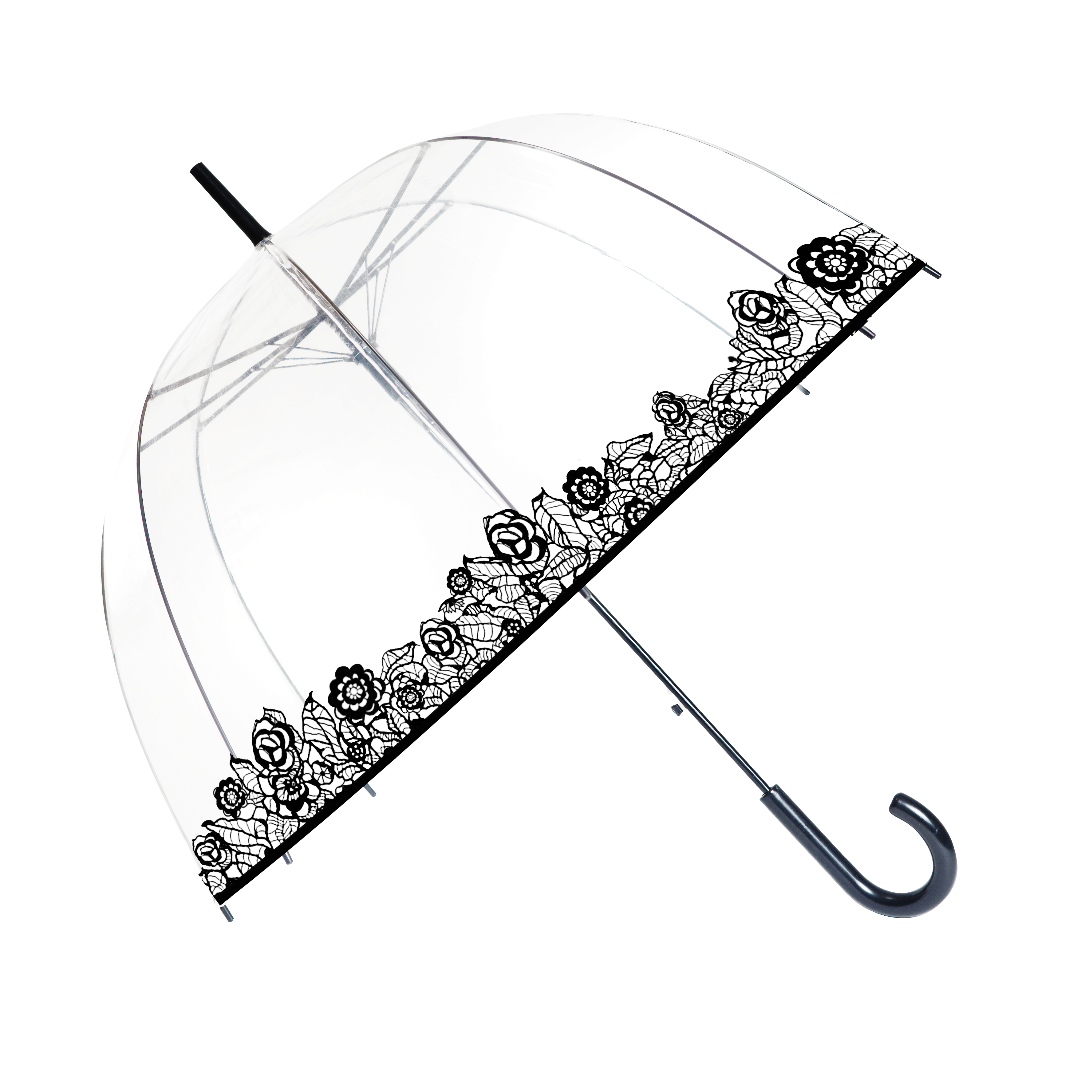 parapluie cloche femme transparent avec liseret de fleurs noires kausia. Black Bedroom Furniture Sets. Home Design Ideas