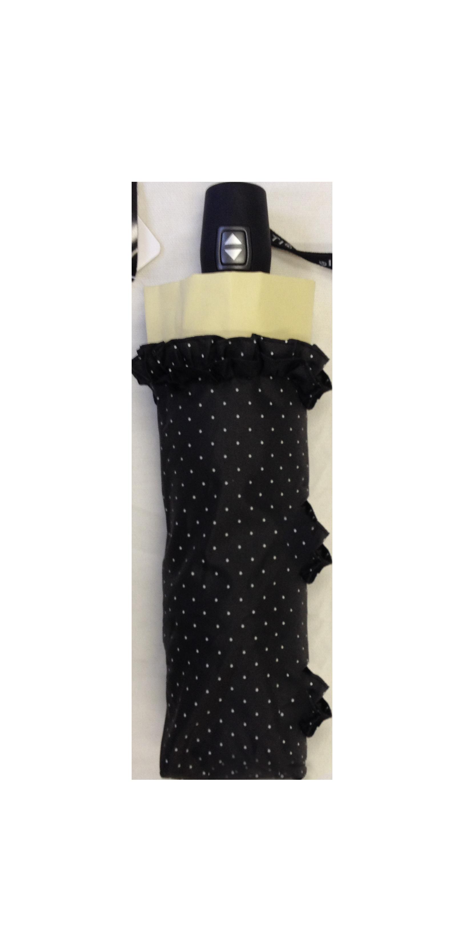 Parapluie pliant femme automatique froufrou noir et cru - Parapluie cloche transparent isotoner ...