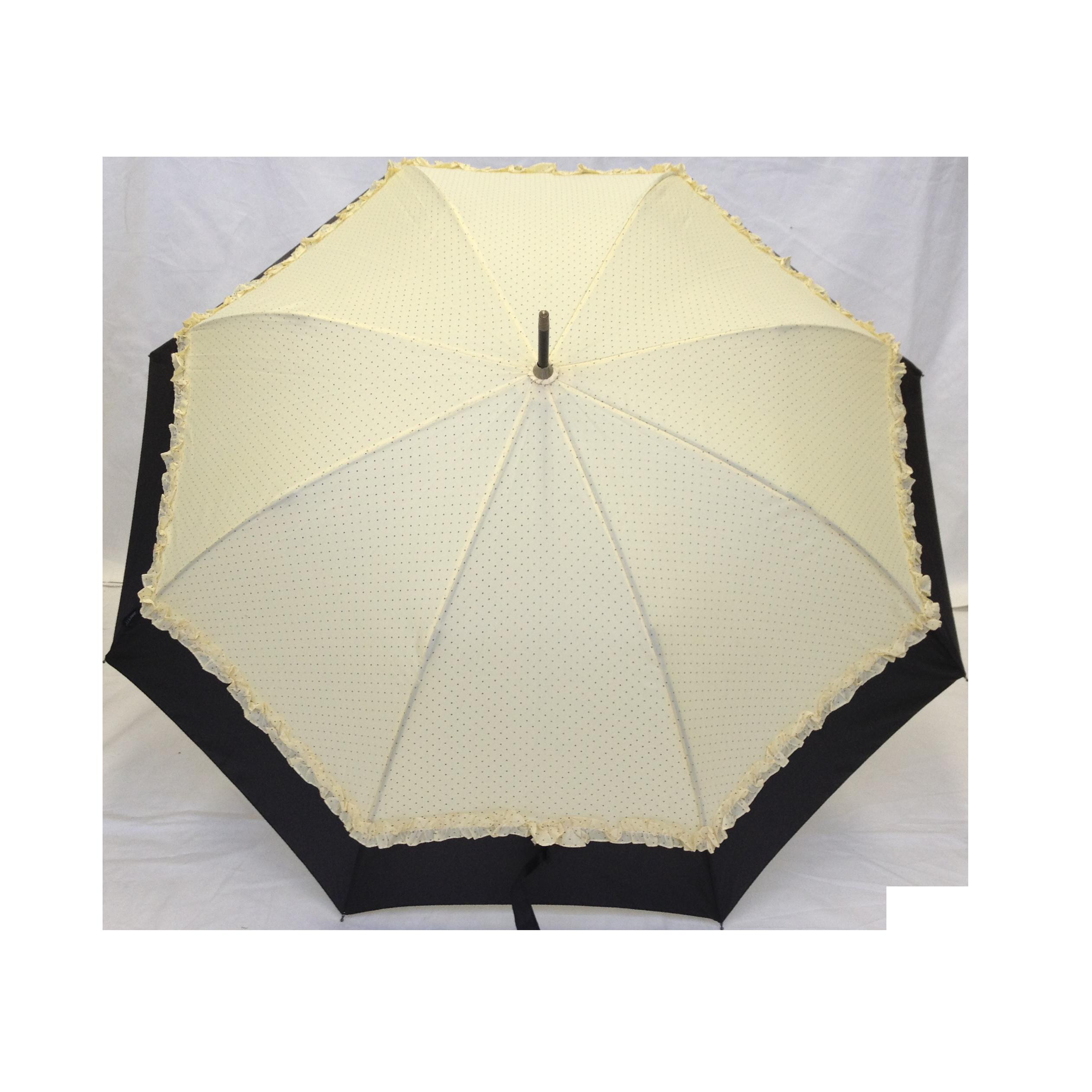 Parapluie droit femme automatique froufrou cru et noir - Parapluie cloche transparent isotoner ...
