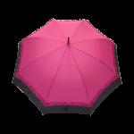 Parapluie droit femme automatique froufrou fuchsia et noir