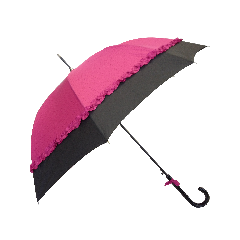 Parapluie droit femme automatique froufrou fuchsia et noir - Parapluie cloche transparent isotoner ...
