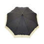 Parapluie droit femme automatique froufrou noir et écru