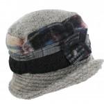 Chapeau bandes alternées Escape, bord et plafond unis, décoration cuir et pressions