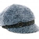 Casquette gavroche en tricot Idaho, bande d'entrée en simili cuir ajouré, bouton au côté