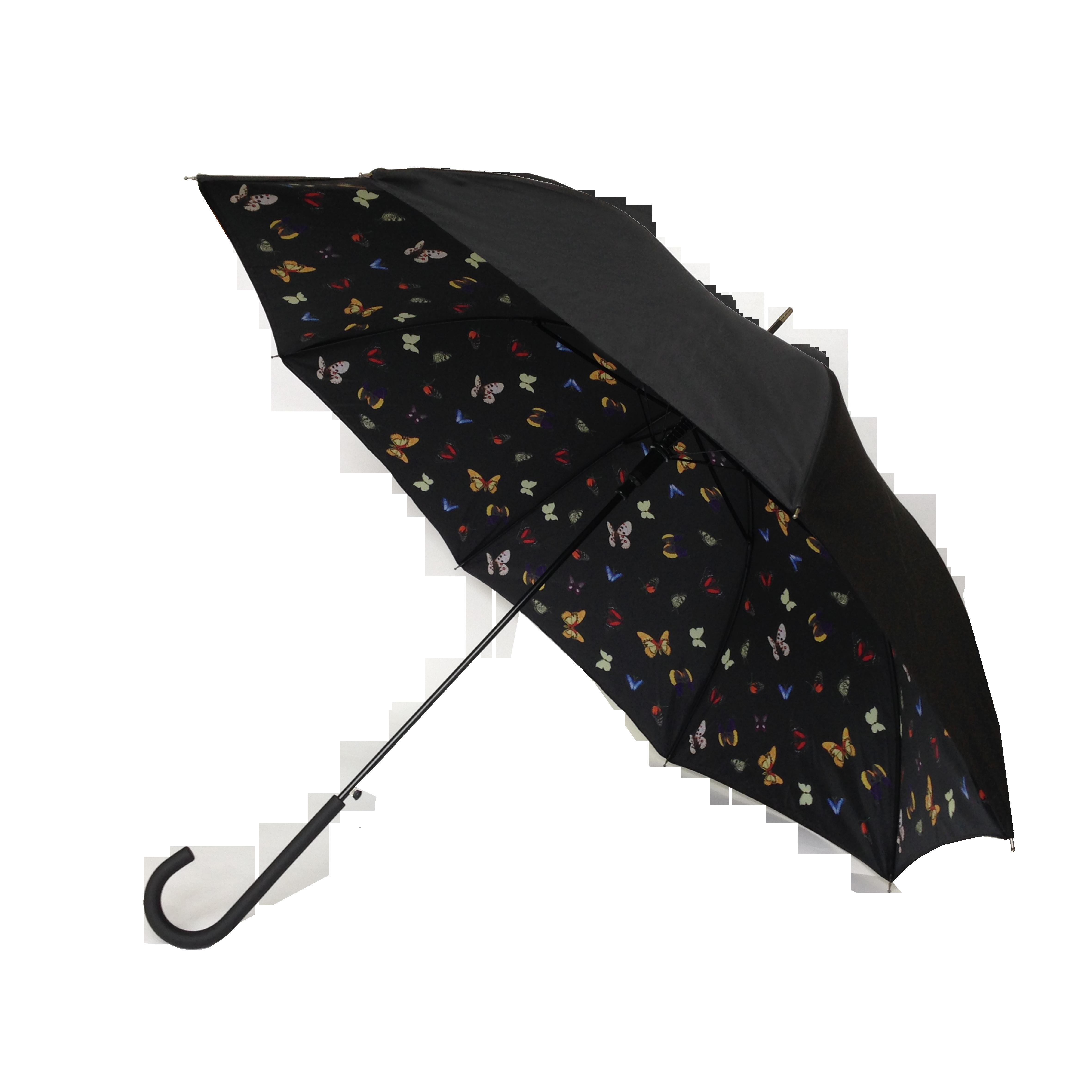 Parapluie droit femme automatique papillons kausia - Parapluie cloche transparent isotoner ...