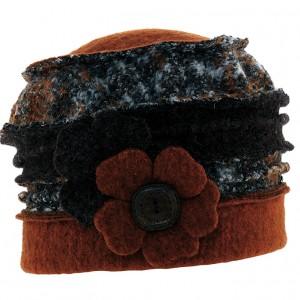 Béret bandes tricolores alternées en tweed et laine bouillie Caralyn rouille