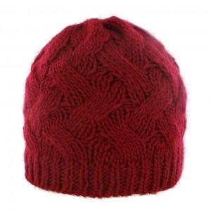 Bonnet torsadé rouge bande intérieure polaire