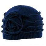 Bonnet surfils apparents Louisa ton sur ton bleu en laine bouillie