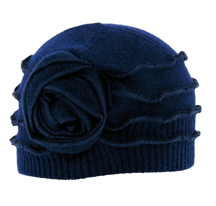 Bonnet surfils apparents Louisa ton sur ton bleu en laine bouillie ... 01f073a980f