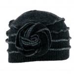 Bonnet surfils apparents Louisa ton sur ton gris en laine bouillie