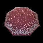Parapluie pliant femme automatique bordeaux à pois argentés