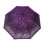 Parapluie droit femme automatique violet à pois argentés
