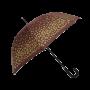Parapluie droit femme automatique marron à pois dorés