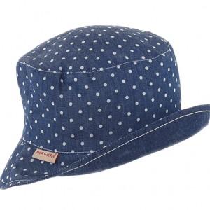 Chapeau fond plat réversible jean, galons décoratifs pliés en couture