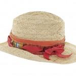 Chapeau de paille garni tissu d'un ruban fantaisie, nœud côté