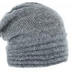 Bonnet tricot fantaisie sequins et lurex