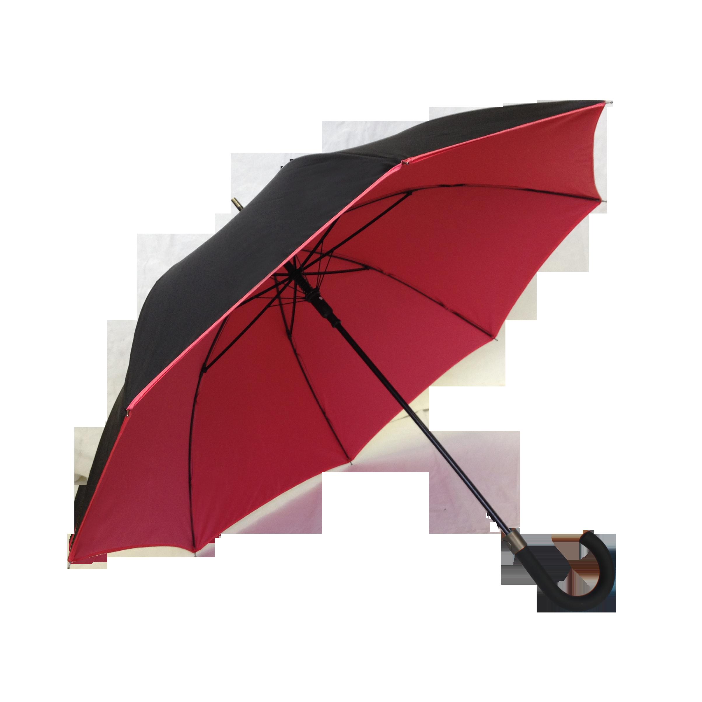 Parapluie droit mixte automatique noir et rouge kausia - Parapluie cloche transparent isotoner ...