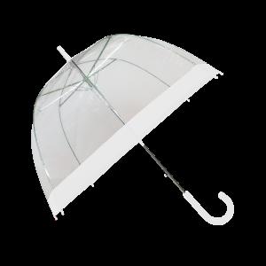 Parapluie cloche femme transparent bordure blanche