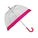 Parapluie cloche femme transparent bordure fuchsia