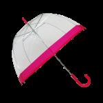 Parapluie cloche femme transparent bordure fuchsia