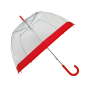 Parapluie cloche femme transparent bordure rouge