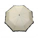 Parapluie pliant femme automatique froufrou écru