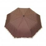 Parapluie pliant femme automatique froufrou marron