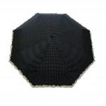 Parapluie pliant femme automatique froufrou noir