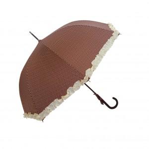 Parapluie droit femme automatique froufrou marron