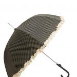 Parapluie droit femme automatique froufrou noir