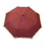 Parapluie pliant femme automatique froufrou rouge