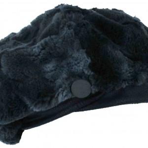 Béret bleu marine entrée en simili croisée sur le devant avec bouton dessus en fourrure doublure coton