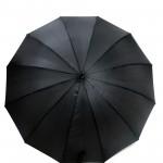 Parapluie droit homme automatique noir poignée en bois