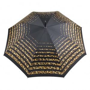 Parapluie droit femme automatique New rayure léopard haut noir