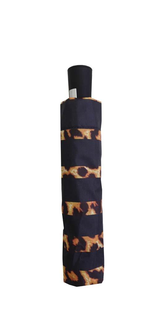 Parapluie pliant femme automatique New rayure léopard haut noir - Kausia a8c7216d559