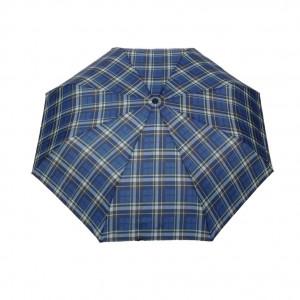 Parapluie pliant écossais fond bleu femme automatique