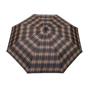 Parapluie pliant écossais fond marron femme automatique