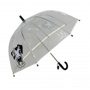 Parapluie droit enfant transparent chien bordure fluorescente