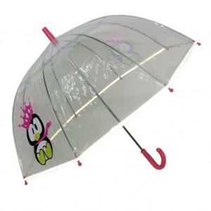 Parapluie droit enfant transparent pingouin bordure fluorescente