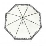 Parapluie pliant femme automatique transparent liseret de fleurs noires