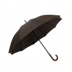 Parapluie droit homme automatique marron poignée en bois housse de protection