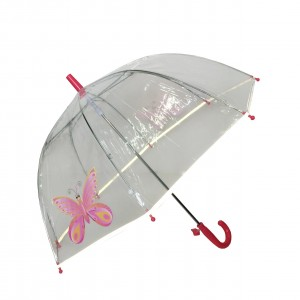 Parapluie droit enfant transparent papillon bordure fluorescente